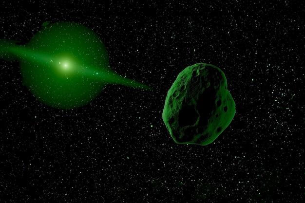 Un meteorite nello spazio. gli elementi di questa immagine sono stati forniti dalla nasa. per qualsiasi scopo.
