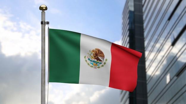 Bandiera messicana che fluttua nel vento in città moderna