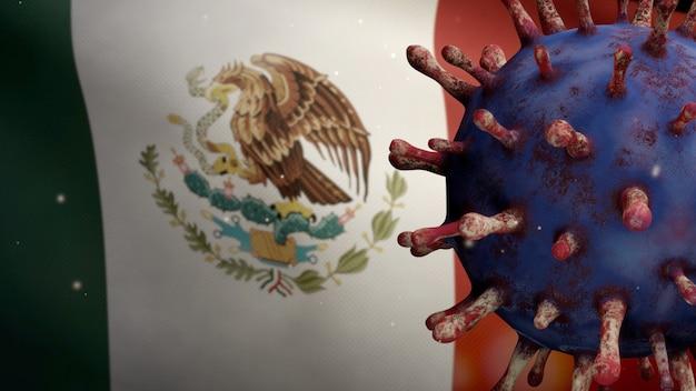 Bandiera messicana che sventola con l'epidemia di coronavirus che infetta il sistema respiratorio come influenza pericolosa. influenza di tipo covid 19 virus con bandiera nazionale del messico che soffia sullo sfondo. concetto di rischio pandemico