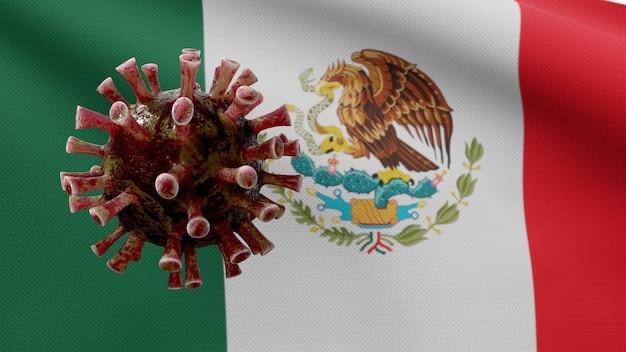 Bandiera messicana sventola con focolaio di coronavirus che infetta il sistema respiratorio