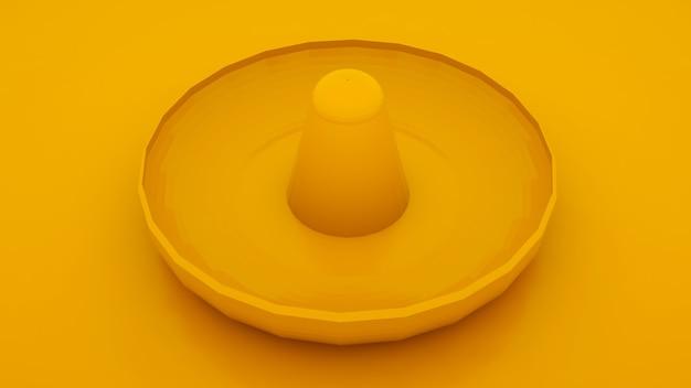 Sombrero messicano del cappello su fondo giallo. illustrazione 3d.