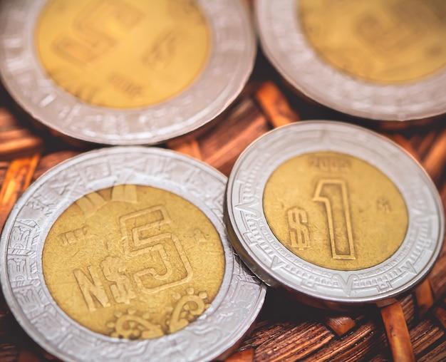 Peso messicano mxn fotografia ravvicinata di monete messicane