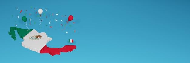 Mappa del messico per i social media e la copertina del sito web per celebrare la giornata nazionale dello shopping e la giornata dell'indipendenza nazionale nel rendering 3d