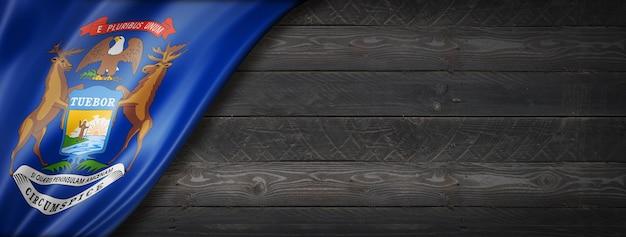Bandiera del michigan sul banner di parete in legno nero, stati uniti d'america. illustrazione 3d