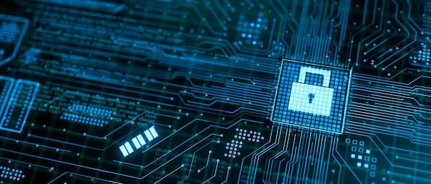Microchip che elabora i dati attraverso il circuito della scheda madre del computer con simbolo di blocco del pad di protezione completo, rendering 3d astratto illustrazione di sicurezza cyber security, concetto di tecnologia firewall hardware cpu