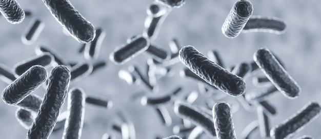 Cellule di microrganismi che galleggiano all'interno del corpo umano al microscopio, rendering 3d fondo scientifico biologico degli organismi batterici, illustrazione 3d del concetto di malattia della salmonella