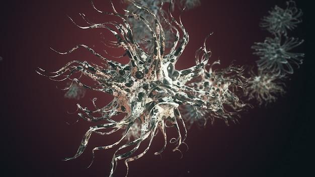 Cellule di microrganismi sotto vista al microscopio