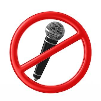 Microfono e segno proibito su bianco