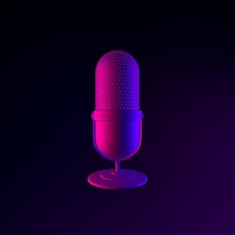 Icona del microfono al neon. elemento di interfaccia ui ux di rendering 3d. simbolo incandescente scuro.