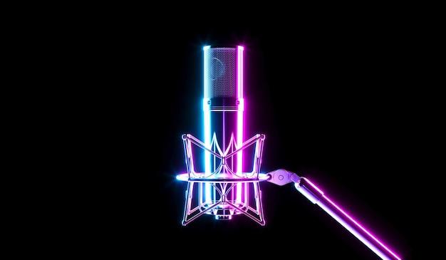 Microfono in luce al neon con forte lucentezza, illustrazione 3d