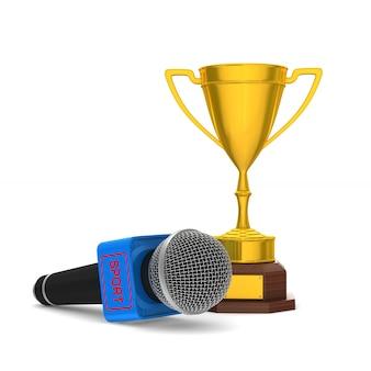 Microfono e coppa del trofeo sulla superficie bianca. illustrazione 3d isolata.