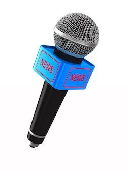 Microfono su uno spazio bianco. illustrazione 3d isolata