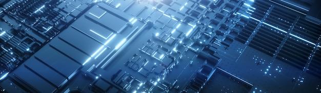 Priorità bassa futuristica blu 3d del microprocessore