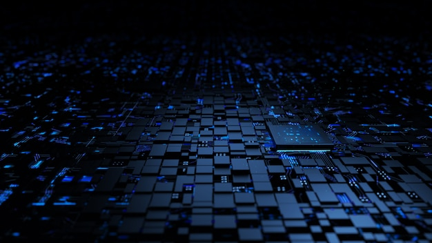 Unità centrale di elaborazione del chipset del microprocessore sul circuito di illuminazione