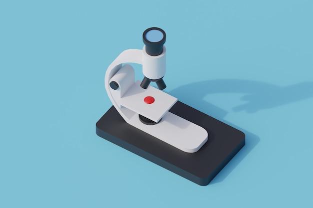 Microscopio singolo oggetto isolato. 3d render illustrazione isometrica