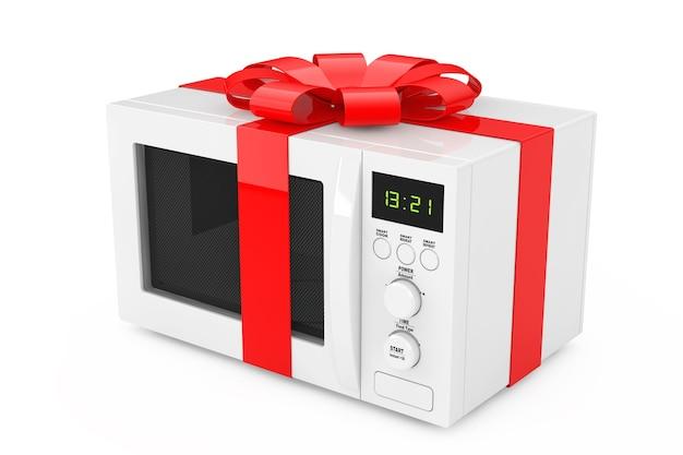 Regalo di forno a microonde con nastro rosso e fiocco su sfondo bianco. rendering 3d