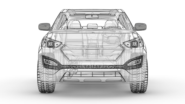 Crossover da città di medie dimensioni. un'illustrazione su uno sfondo bianco, l'auto è delineata da linee e ha una carrozzeria traslucida. rendering 3d.