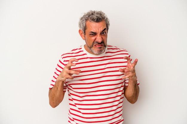 Uomo caucasico di mezza età isolato su sfondo bianco sconvolto urlando con le mani tese.