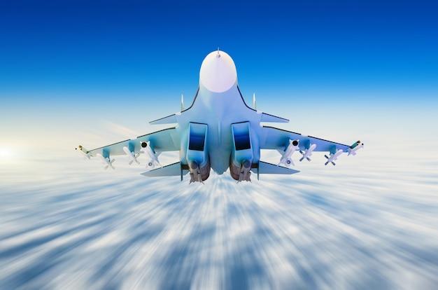 Aerei da combattimento militari ad alta velocità, volando in alto nel cielo.