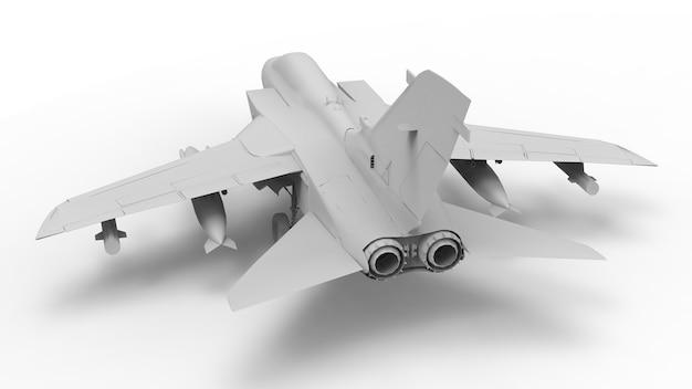 Aereo da caccia militare. illustrazione tridimensionale del quadro televisivo sotto forma di un modello completamente bianco. rendering 3d.