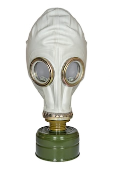 Maschera antigas militare su superficie bianca