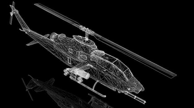 Struttura del corpo del modello 3d di elicottero militare, modello di filo