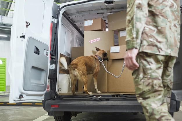 Cane da pastore militare che controlla scatole di cartone nel camion con un militare