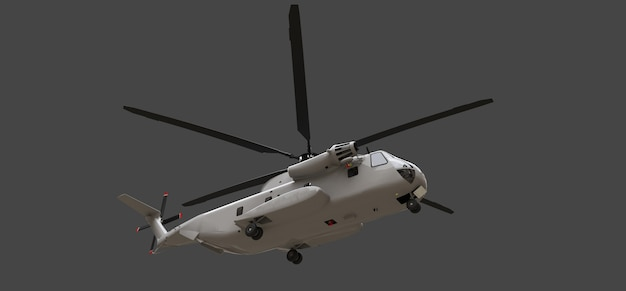 Trasporto militare o elicottero di salvataggio su sfondo grigio