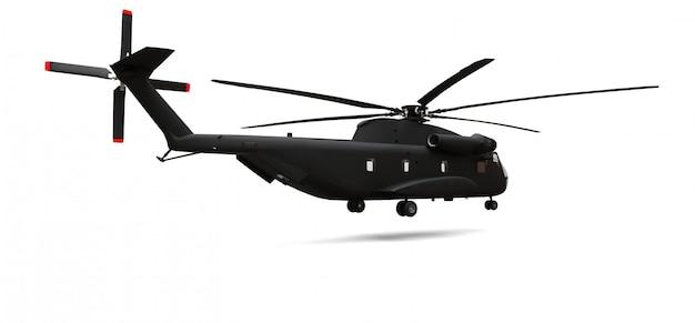 Elicottero militare di salvataggio o di trasporto su fondo bianco. illustrazione 3d