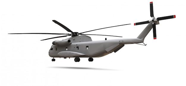 Trasporto militare o elicottero di salvataggio su spazio bianco. illustrazione 3d