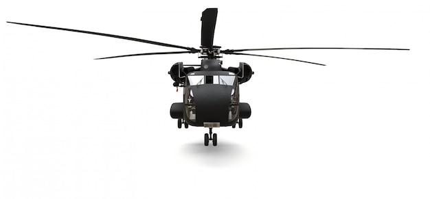 Trasporto militare o elicottero di salvataggio su superficie bianca