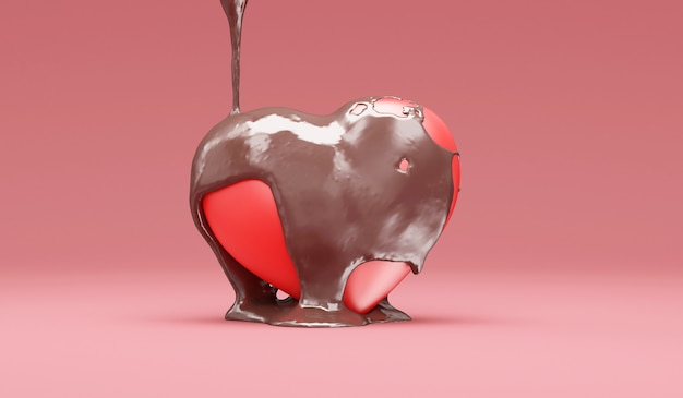 Cioccolato al latte versato su love heart in rosa