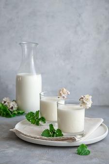 Bevanda al latte a base di yogurt, latte e acqua su un muro grigio. bevande salutari per la digestione.