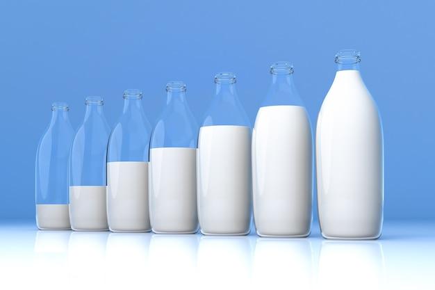 Grafico a barre di vetro di latte su sfondo blu.