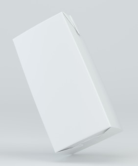Imballaggio del cartone del succo e del latte su fondo bianco. rappresentazione 3d.
