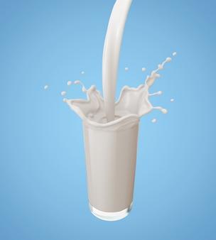 Versare il latte e spruzzare nel bicchiere