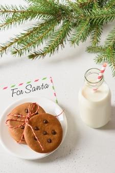 Latte per babbo natale e biscotti