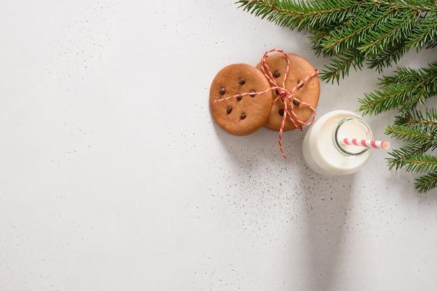 Latte per babbo natale e biscotti di panpepato fatti in casa su bianco
