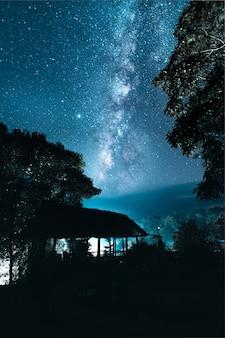 Via lattea e stelle notturne nei campi mood tone