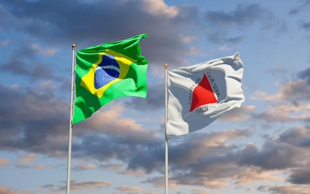 Minas gerais brasile bandiera dello stato. grafica 3d