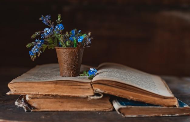 Mini mazzo di fiori selvatici in un secchio decorativo su vecchi libri sulla finestra del villaggio.