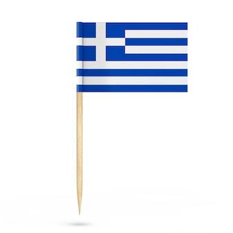 Mini carta bandiera grecia puntatore su sfondo bianco. rendering 3d