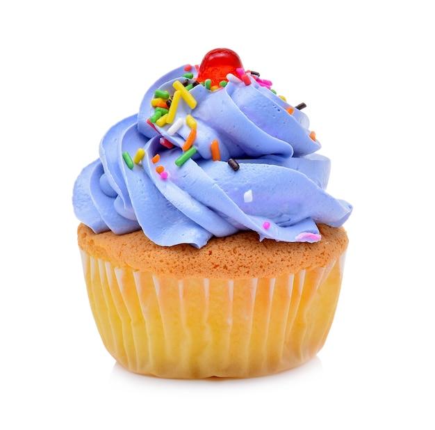 Mini gustoso cupcake isolati su sfondo bianco