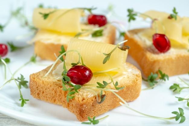 Mini toast con burro, formaggio e micro verdure di crescione su un piatto bianco. concetto di colazione, macro e sfocatura.