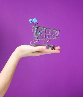 Carrello spesa in metallo mini giocattolo a portata di mano