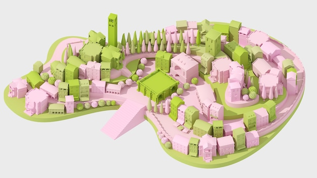 Mini giocattolo vecchio concetto di città rosa e verde isolato su bianco, 3d'illustrazione
