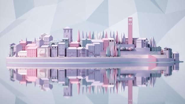 Mini giocattolo vecchia città in centro città sulla piccola iland, 3d'illustrazione