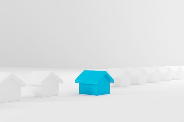 Casa blu in miniatura tra le case bianche per il settore immobiliare. illustrazione 3d