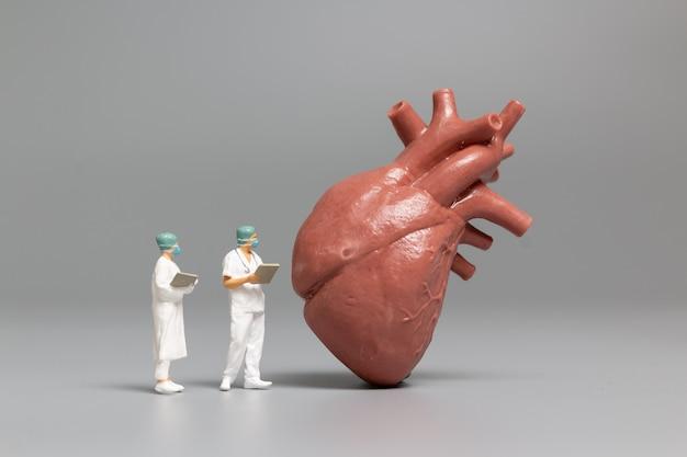 Persone in miniatura medico e infermiere osservando e discutendo di cuore umano, scienza e concezione medica