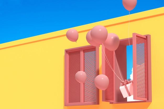 Costruzione astratta minima con la finestra rosa e palloni galleggianti su cielo blu, progettazione architettonica con ombra e ombra su struttura rosa. rendering 3d.